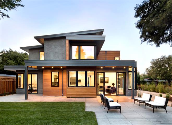 modern contemporary concrete house with wood and glass3 Small